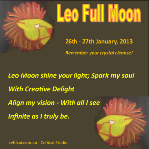Leo Full Moon poem and crystals